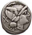 obverse: Repubblica Romana - Serie Apex e martello. 211-208 a.C. Denario. Ag. D/ Roma a destra. R/ Dioscuri a destra. Crawford 59/1b. Peso gr. 4,18. Diametro mm. 17,5 x 19,6. qBB. R.