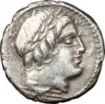 obverse: Repubblica Romana. 86 a.C. Denario Anonimo. Ag. D/ Testa di Apollo Vejovis a destra, sotto una folgore. R/ Giove su quadriga verso destra. CR.350A/2. Peso 3,75 gr. Diametro 18 mm. BB+. Patinata.**
