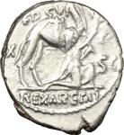 obverse: Repubblica Romana. Gens Aemilia. M. Aemilius Scaurus e P. Plautius Hipsaeus. 58 a.C. Denario. Ag. D/ M SCAVR AED CVR EX SC REX ARETAS il re Aretas in ginocchio verso destra, dietro un cammello. R/ HYPSAE AED CVR all esergo C HYPSAE COS PREIVE nel campo CAPTV Giove in quadriga verso sinistra sotto uno scorpione. Cr.422/1b. Peso 3,80 gr. Diametro 17,39 mm. SPL.**
