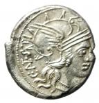 obverse: Repubblica Romana. Gens Antestia. Caius Antestius Labeo. 146 a.C. Denario. Ag. D/ C ANTESTI (Caius Antestius) Testa di Roma verso destra, davanti X. R/ ROMA. I Dioscuri a cavallo verso destra, sotto un cane con due zampe alzate. Cr. 219/1c. Peso 3,80 gr. Diametro 19,00 mm. qSPL\SPL. NC.