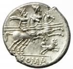 reverse: Repubblica Romana. Gens Antestia. Caius Antestius Labeo. 146 a.C. Denario. Ag. D/ C ANTESTI (Caius Antestius) Testa di Roma verso destra, davanti X. R/ ROMA. I Dioscuri a cavallo verso destra, sotto un cane con due zampe alzate. Cr. 219/1c. Peso 3,80 gr. Diametro 19,00 mm. qSPL\SPL. NC.