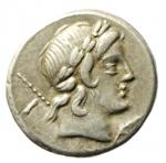 obverse: Repubblica Romana. Gens Crepusia. P. Crepusius. ca 82. a.C. Denario. Ag. D/ Testa laureata di Apollo a destra; scettro sulla spalla sinistra; sotto il mento un papavero. R/ Cavaliere a destra; brandisce una lancia; dietro XIII. In esergo P.CREPVSI. B. Crepusia 1. Syd. 738a. Cr. 361/1c. Peso gr. 4.05: Diametro mm. 17.50. BB+.