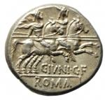 reverse: Repubblica Romana. Gens Junia. C. Junius. 146 a.C. Denario. Ag. D/ Testa di Roma a destra. R/ C IVNI C F ROMA. I dioscuri al galoppo verso destra. Cr. 210/1. Peso 3,88 gr. Diametro 18,70 mm. SPL.