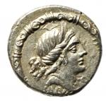 obverse: Repubblica Romana. Gens Iunia. D. Silanus L.f. 91 a.C. Denario. Ag. D/ Testa diademata di Salus a destra. Sotto SALVS. Tutto entro torque decorato. R/ Vittoria in biga a destra. Sotto i cavalli cavalletta. In esergo D. SILANVS L.F. Cr. 337/2d. B. Junia 17. Peso gr. 3,98. Diametro mm. 18.00. SPL. Raro e di grande qualità.R.