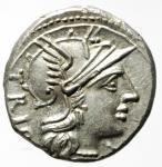 obverse: Repubblica Romana. Gens Lucretia. Cnaeus Lucretius Trio. 136 a.C. Denario. Ag. D/ TRIO Testa di roma a destra, davanti X. R/ CN. LVCR. ROMA (Cnaeus Lucretius Roma) I Dioscuri a cavallo verso destra. Peso 4,00 gr. Diametro 19 mm. Cr. 237/1. SPL+. Conservazione eccezionale.