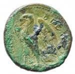 reverse: Mondo Greco. Bruttium. I Brettii. ca III sec. a.C. Bronzo. Oncia ridotta. D/ Testa di Zeus verso destra. R/ Aquila verso sinistra. Peso 10,15 gr. Diametro 21 mm. BB+. Patina Verde. §