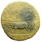reverse: Impero Romano. Augusto. 27 a.C - 14 d.C. Sesterzio, emesso da Tiberio. Ae. D/ DIVO AVGVSTO SPQR. Augusto seduto a sinistra su carro trainato da quattro elefanti montati. R/ TI CAESAR DIVI AVG F AVGVST PM TR POT XXXVII intorno a grande SC.RIC (Tib.) 62. Peso 22,20 gr. Diametro 33,76 mm. MB. R. __