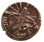 Impero Romano. Nerone Claudio Druso, fratello di Tiberio, padre di Germanico e Claudio (deceduto nel 9 d.C.). Denario Suberato. Ag-Ae.D/ NERO CLAVDIVS DRVSVS GERMANICVS IMP. Testa laureata a sinistra. R/ DE GERMANIS. Due scudi incrociati su stendardo, quattro lance e due trombe. RIC (Claud.)74 (R2). Peso gr. 3.00. Diametro mm. 20.00. BB. Molto raro.RR.__