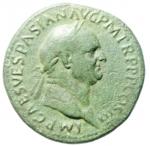 obverse: Impero Romano. Vespasiano. 69-79 d.C. Sesterzio. Ae. Roma. 71 d.C. D/ IMP CAES VESPASIAN AVG P M TR P P P COS III, Testa laureata a destra. R/ IVDAEA CAPTA, albero di palma, a sinistra Vespasiano stante volto a destra con lancia e parazonium; a destra la Giudea dolorante; in ex. S C. RIC I 427 = II 167; C 239. Peso gr. 24,07. Diametro mm. 33,7 x 32,8. qBB.