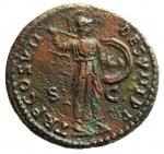 reverse: Impero Romano. Domiziano. 81-96 d.C. Asse. Ae. D/IMP CAES DIVI VES P F DOMITIAN AVG P M Testa di Domiziano verso destra. R\TR P COS VII DES VIII PP / S - C, Minerva stante verso destra, tiene scudo e lancia. Ric.87. Peso gr. 9,40. Diametro mm. 26,50.qBB.