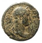 obverse: Impero Romano. Adriano. 117-138 d.C. Quadrante. Ae. D/ HADRIANVS AVGVSTVS Busto verso destra. R/ COS III lira tra SC. RIC.688. Peso 6,87 gr. Diametro 23,93 mm. BB+. RR. w