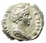 obverse: Impero Romano. Faustina I (moglie di Antonino Pio). Morta nel 141 d.C. Denario. Ag. D/ DIVA FAVSTINA Busto diademato verso destra. R\ AVGVSTA La Pietà stante a sinistra. Ric. 373. Peso 2,83 gr. Diametro 18 mm. BB+.