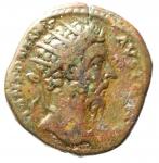 obverse: Impero Romano. Marco Aurelio. 161-180 d.C. Dupondio. AE. D/ Testa radiata a destra. R/ SALVS AVG COS III SC. La Salus stante a sinistra ciba un serpente che si erge da un altare. Peso gr. 12,35. BB.