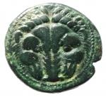 obverse: Mondo Greco. Bruttium. Rhegium. 351-280 a.C. Obolo. AE. D/ Testa di leone di fronte. R/ PHΓINΩΝ. Testa laureata di Apollo a sinistra. HNI (Italy) 2534 (b). Peso 7,65 gr. Diametro 18,00 mm. BB+.§