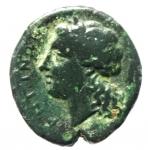 reverse: Mondo Greco. Bruttium. Rhegium. 351-280 a.C. Obolo. AE. D/ Testa di leone di fronte. R/ PHΓINΩΝ. Testa laureata di Apollo a sinistra. HNI (Italy) 2534 (b). Peso 7,65 gr. Diametro 18,00 mm. BB+.§