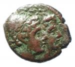 obverse: Mondo Greco. Bruttium. Rhegium. 203-89 a.C. AE. D/ Teste dei Dioscuri a destra. A sinistra punta di lancia. R/ PHΓINΩΝ. Asclepius stante a sinistra, tiene uccello e scettro. A sinistra IIII. SNG ANS 778. Peso gr.2,45. Diametro mm. 16. BB+.§