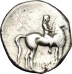 obverse: Mondo Greco. Calabria. Tarentum. 380-345 a.C. Nomos. Ag. D/ Giovane nudo su cavallo andante a destra. R/ Taras con tridente e scudo su delfino a sinistra bucranio. Peso 6,40 gr. Diametro 22,3 mm. BB.**