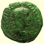 obverse: Provincia Romana. Viminacium. Treboniano Gallo. 251-253 d.C : D\ IMP C C VIB TREB GALLVS AVG Testa verso destra. R\ PMS C-OL VIM AN X III. Peso 12,9 gr. Diametro 27 mm. BB+. Bellissima patina verde.