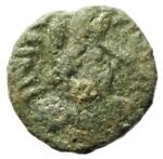 obverse: Bizantini. Giustiniano I. 527-565 d.C. Mezzo Follis. Æ. Salona. D\ Busto diademato verso destra. R/ K anaepigrafo. Peso 1,95 gr. Diametro 18,10 mm. BB.R.