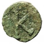 reverse: Bizantini. Giustiniano I. 527-565 d.C. Mezzo Follis. Æ. Salona. D\ Busto diademato verso destra. R/ K anaepigrafo. Peso 1,95 gr. Diametro 18,10 mm. BB.R.
