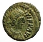 obverse: Bizantini. Giustiniano 527-565 d.C. Pentanummo. Ae. D/ DN IVSTINIANVS PP AVG Busto verso destra. R/ Grande V in corona. Peso 1,43 gr. Diametro 14 mm. BB+. Patina verde. __