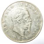 obverse: Casa Savoia. Vittorio Emanuele II. 5 Lire 1875. Milano. Ag. Gig. 49. MB.