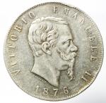 obverse: Casa Savoia. Vittorio Emanuele II. 5 Lire 1876. Milano. Ag. Gig. 50. BB.