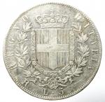 reverse: Casa Savoia. Vittorio Emanuele II. 5 Lire 1876. Milano. Ag. Gig. 50. BB.