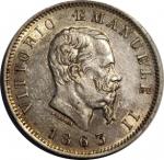 obverse: Casa Savoia. Vittorio Emanuele II. 1 Lira 1863 M. qFDC/FDC. Delicata patina su fondi lucenti.rf