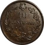 reverse: Casa Savoia. Vittorio Emanuele II. 10 Centesimi 1866N. qFDC.rf