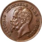 obverse: Casa Savoia. Vittorio Emanuele II. 5 centesimi 1861 N Testa piu grande e tozza. SPL+/qFDC. R. rf