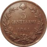 reverse: Casa Savoia. Vittorio Emanuele II. 5 centesimi 1861 N Testa piu grande e tozza. SPL+/qFDC. R. rf