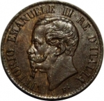 obverse: Casa Savoia. Vittorio Emanuele II. 1 Centesimo 1867T. qFDC. Patina disomogenea. RR.Rf10