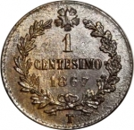 reverse: Casa Savoia. Vittorio Emanuele II. 1 Centesimo 1867T. qFDC. Patina disomogenea. RR.Rf10