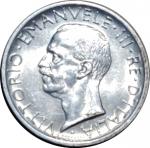obverse: Casa Savoia. Vittorio Emanuele III. 5 Lire 1927. Due rosette sul contorno. Ag. FDC. Fondi lucenti. rf