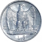 reverse: Casa Savoia. Vittorio Emanuele III. 5 Lire 1927. Due rosette sul contorno. Ag. FDC. Fondi lucenti. rf