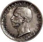 obverse: Casa Savoia. Vittorio Emanuele III. 5 Lire 1928. Due rosette sul contorno. Ag. FDC-qFDC. RR. rf