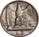 reverse: Casa Savoia. Vittorio Emanuele III. 5 Lire 1928. Due rosette sul contorno. Ag. FDC-qFDC. RR. rf