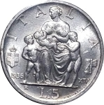 reverse: Casa Savoia. Vittorio Emanuele III. 5 Lire 1936 Famiglia. Ag. FDC. Fondi lucenti. Rf10