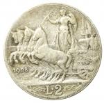 reverse: Casa Savoia. Vittorio Emanuele III. 1900-1946. 2 lire 1908. Ag. Gig 96. BB.