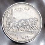 reverse: Casa Savoia. Vittorio Emanuele III. 50 Centesimi Leoni C/ Rigato 1919. SPL+. Periziata L.Esposito. rf