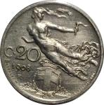 reverse: Casa Savoia. Vittorio Emanuele III. 20 Centesimi Librata 1908. SPL+. Segni di vecchia pulizia rf