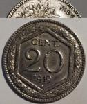 reverse: Casa Savoia. Vittorio Emanuele III. 20 Centesimi Esagono 1919. C/ Rigato. Evidenti tracce della moneta sottostante. rf