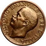 obverse: Casa Savoia. Vittorio Emanuele III. 10 Centesimi Ape 1919. SPL/FDC. Periziata L. Esposito. RR .rf Asse spostato 25°. rf