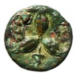 reverse: Mondo Greco. Lucania. Metaponto. 300-250 a.C. Ae 16. D/ Testa di Helios frontale con corona radiata. R/ Tre Spighe di grano a sinistra. Rutter n.1689. Peso 2,15 gr. Diametro 14,00 mm. BB+.§