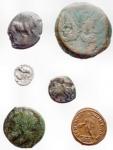 D/ Lotti - Mondo Antico. Insieme di 6 pezzi - Arpi Ae. gr 8,18 mm 19,2 x 21,2 - Tarentum diobolo Ar. gr 0.78 mm 12 - Syracuse / Octopus Ae. gr 4,08 mm 14,8 x 15,8 - Syracuse / Trident Ae. gr 9.52 mm 22.5 - Roman Republic As. Ae. Crown series? gr 29.29 mm 31.2 Maximianus Ae. 2.04 mm 19.2 gr