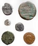 R/ Lotti - Mondo Antico. Insieme di 6 pezzi - Arpi Ae. gr 8,18 mm 19,2 x 21,2 - Tarentum diobolo Ar. gr 0.78 mm 12 - Syracuse / Octopus Ae. gr 4,08 mm 14,8 x 15,8 - Syracuse / Trident Ae. gr 9.52 mm 22.5 - Roman Republic As. Ae. Crown series? gr 29.29 mm 31.2 Maximianus Ae. 2.04 mm 19.2 gr