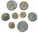reverse: Lotti - Mondo greco e Romano. Insieme di 8 pezzi in Ae. Notati sesterzio di Settimio Severo e Marco Aurelio. Patine.