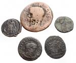 D/ Lotti - Mondo Romano. Insieme di 5 pezzi in Ae incluso Agrippa (barbarico) con contromarca.