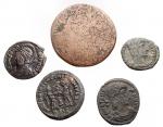 R/ Lotti - Mondo Romano. Insieme di 5 pezzi in Ae incluso Agrippa (barbarico) con contromarca.